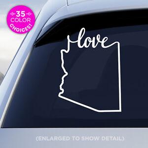"Arizona State ""Love"" Decal - AZ Love Car Vinyl Sticker - Add a heart over a city"