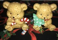 Vintage 1993 Christmas Bears Salt and Pepper Shakers Candy Cane Christmas Tree