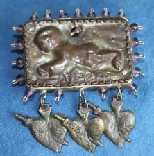 Vintage Signed Designer THIERRY '90 MI BEBE Amethyst Heart Milagro Brooch Pin