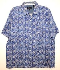 Nat Nast Mens Faded Blue Floral 100% Silk S/S Button-Front Shirt NWT $155 Size L