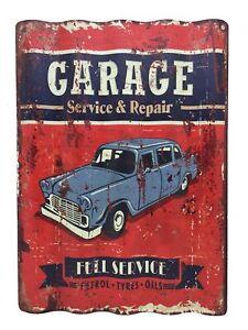 """Crispe Blechschild gewellt """"GARAGE Service & Repair"""" Nostalgie Antik  30 x 40 cm"""