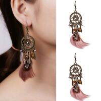Fashion Boho Womens Feather Owl Leaf Tassel Earrings Long Dangle Wed Jewelry