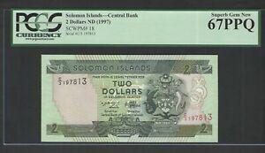 Solomon Islands 2 Dollars ND(1997) P18 Uncirculated Graded 67