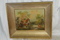 Antique Signed Lavera Oil Painting on Board Framed
