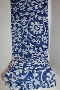LOT of 4~Vintage~RALPH LAUREN~Blue~COTTON~Bath TOWELS~Blue Label~USA~Floral~VINE