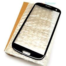 (BOX PACKAGING) FRONT OUTER GLASS LENS FOR SAMSUNG GALAXY S3 i9300 i747 #BLACK