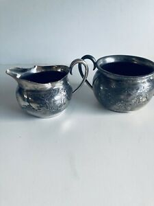 Antique Vintage Silver Plated EPNS Open Sugar Bowl and Jug Grinsell & Sons