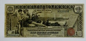 1896 - Large Size $1 Educational Silver Certificate Note - Circulated