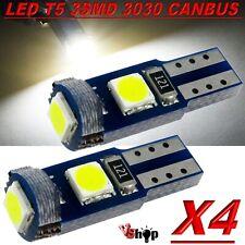 4 LAMPADE T5 3 LED 3030 SMD CANBUS NO ERROR QUADRO STRUMENTI CRUSCOTTO BIANCO
