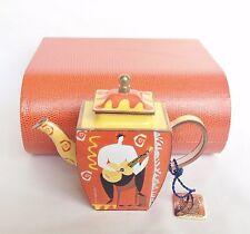 Boxed Charlotte di Vita Guitar Funk Teapot Trade Aid - Miniature Enamel