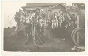 Rabbit Hunters With Their Shotguns ~ RPPC Real Photo Postcard c.1913