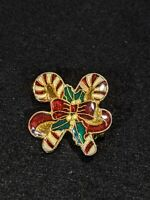 Vintage Red Green Gold Tone Christmas Candy Cane Pin Brooch 10544
