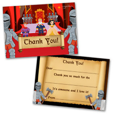 10 Kids Thank You Cards Knights Themed and 10 Envelopes