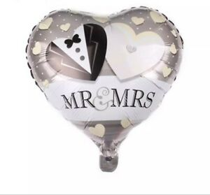 """18"""" JUST MARRIED - MR & MRS SILVER  PARTY FOIL HELIUM HEART BALLOON"""