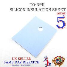 5x TRANSISTOR Isolamento Foglio in silicone TO-3PII Isolante Calore Pad 20x25mm
