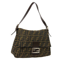 FENDI Mamma Baguette Shoulder Bag Purse Brown Canvas Leather Authentic AK45255