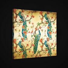 CANVAS Wandbild Leinwandbild Bild VOGEL PFAU BLUMEN BAUM KUNST FOTO 3FX2592O2