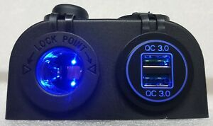 QC3.0 DUAL USB QUICK CHARGE + 12V POWER SOCKET WITH LED SURFACE MOUNT 4X4 CAR AU