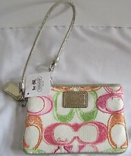 COACH Small Wristlet Wallet Madison Multi-Color White Pink Green Gift Wrapped