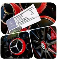 X 4 MERCEDES AMG RED WHEEL CENTRE CAPS 75MM FITS A B C E M A45 CLASS C63 C43 E63