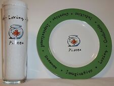 "Pottery Barn ""What's Your Sign"" 8"" plate & 7"" tumbler, Pisces Zodiac,  Horoscope"