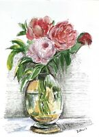 Print of Original ink watercolour painting wall ART Shabby chic Country house