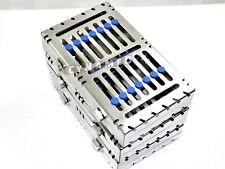 3 Blue German Dental Autoclave Sterilization Cassette Rack Tray For 7 Instrument