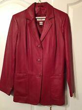 Preston & York Women's Red Leather Lamb Skin Coat Jacket Size S