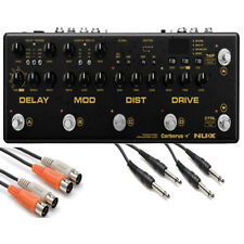 """Nux Cerberus Integrated Guitar Effects Pedal Controller with MIDI 1/4"""" TS Cables"""