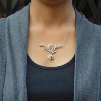 "1/2 Ct Diamond Fashionable Flower Shape Pendant 14k White Gold GP 18"" Necklace"
