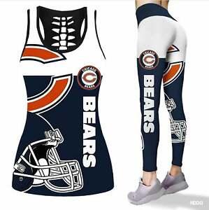 Chicago Bears 2PCS Tank Top Leggings Women's High Waist Butt Lifting Yoga Pants