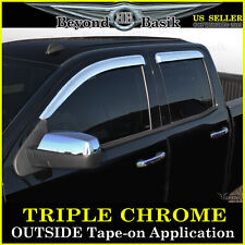14-17 CHEVY SILVERADO Double-Extended cab Chrome Door Visors Window Rain Guards