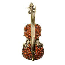 Base Metal Brown Crystal Vintage Style Violin Pin Brooch F2E0