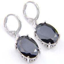 Particular Gift Oval Cut Black Onyx Gemstone Silver Dangle Hook Earrings