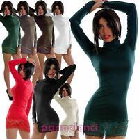 Miniabito donna maxitop fondo PIZZO vestito vestitino lupetto nuovo 4100