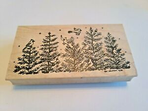 """Cardinals Pine Trees Snow Holidays Trees Northwoods Rubber Stamp 4.75x2.5"""""""
