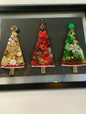 3 Jeweled Christmas Trees, framed, handmade original