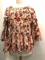 Marks & Spencer M&S Collection Floral Print Raglan Bell Sleeve Blouse Size 10
