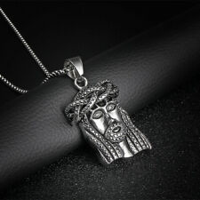 Stainless Steel JESUS Pendant Fashion Box Necklace Cool Solid Pendant Jewelry