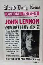 1980 John Lennon Gunned Down on New York ST World Daily News Vintage Look Poster