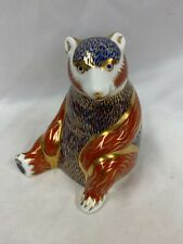 Royal Crown Derby 'Honey Bear' Paperweight Gold Stopper Signed