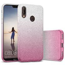 COVER Custodia Glitter GRADIENTE Morbida Silicone GEL per Huawei P20 LITE Rosa