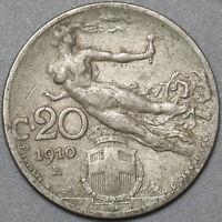 1910 Italy 20 Centesimi AVF Flying Woman Coin (21011602R)