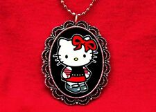 HELLO PUNK KITTY ROCKER CAT PENDANT NECKLACE EMO KAWAII