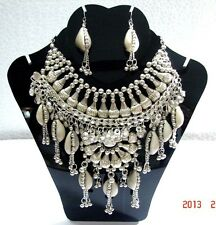NEW KUCHI TRIBAL COWRIES SILVERTONE NECKLACE BELLY DANCE JEWELRY INDIA