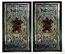 Stained Glass Pair of Poppy Windows, Antique  #5748