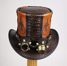 BROWN LEATHER PENNYFARTHING STEAMPUNK / RETRO TOP HAT / COSPLAY AVIATOR GOGGLES