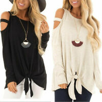 Womens Cold Shoulder Long Sleeve Blouse Loose Casual T-Shirt Tops Plus Size UK