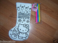 "HELLO KITTY Color Your Own 11"" Stocking With Markers Christmas Holiday Snowman"