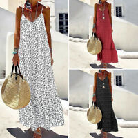 Women Loose Sleeveless Sundress Beach Party Evening Dresses Polka Dot Long Dress